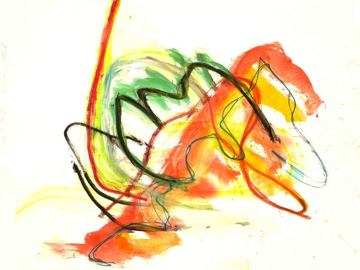 'Lucky' - modern abstract art on paper; happy colorful painting, Dutch Abstract Expressionism