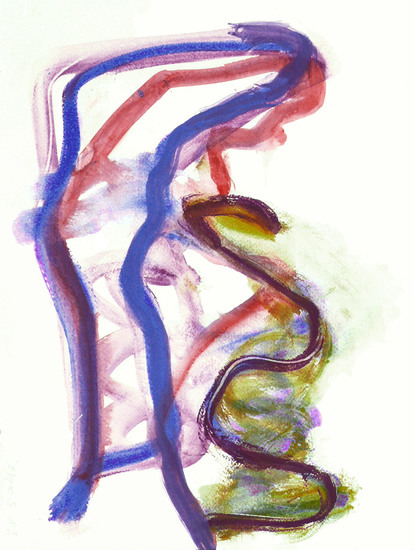 'Bending' - abstract watercolor-art on paper