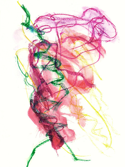'The One, 2012' - abstracte gouache, kunst op papier