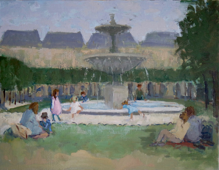 Place des Vosges, playing with water