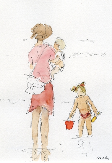 Mother with children at the beach