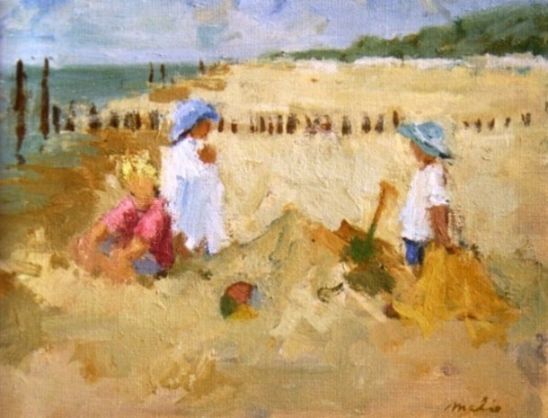 Beach scene with children