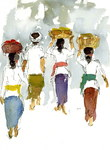 Sketches of Balinese people with their colorful clothes and elegant movements