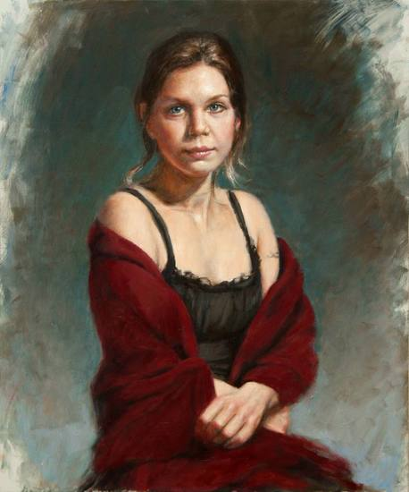 portrait of a woman with red scarf