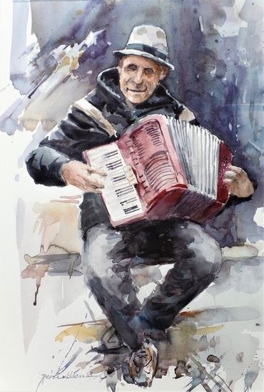 Straatmuzikant met accordeon