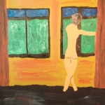 Girl before window