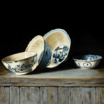 Still life with four Chinese bowls