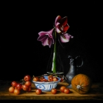 Still life with amaryllis and ornamental apples