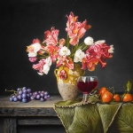 Still life with tulips tangerines and grapes