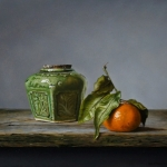 Still life with ginger jar and tangerine