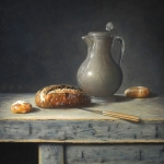 Still life with bread and tin can
