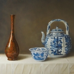 Chinese Kraak 'hooded' Kraak bowl and wine pot and bronze vase