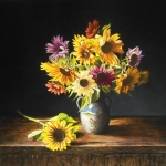 Still Life with multicolored sunflowers (2)