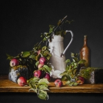 Still Life with Apples, mossy stones and can