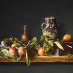 Still life with Apples, jar and mossy stone