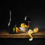 Still life with wine glass and bottle