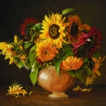 Still Life with multicolored sunflowers