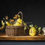 Still life with basket and quinces