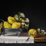 Still life with pewter bowl and quinces