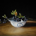 Chinese dish with twig of wild blackberries
