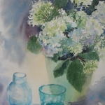 Hortensia and glass