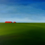 Red roofs, blue sky, green fields.