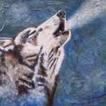Howling Wolf (Blue Background)