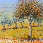 orange tree and green fields