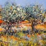 Wild flowers near olive trees