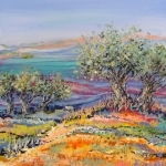 Blue valley with olive trees
