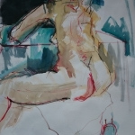 model met aquarel