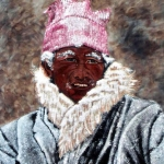 Tibetan man with snow