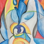 Pinguin met jong abstract
