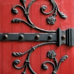 Church door in red