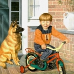 Boy portrait with dog