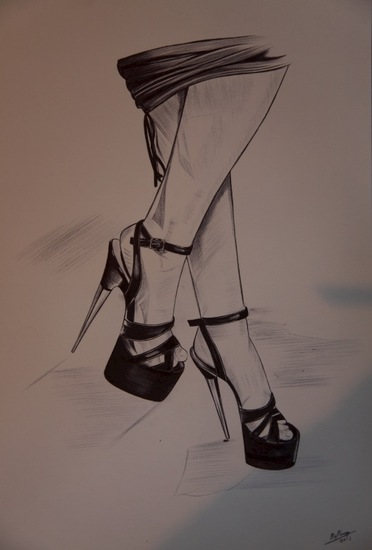 Fetish Highheelart in BIC Ballpoint