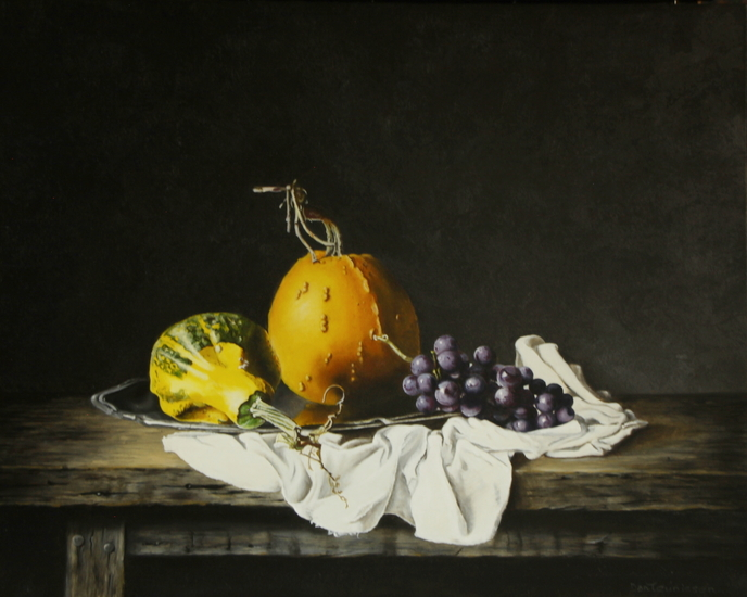 Still life with pumpkins and grapes (40x50cm)