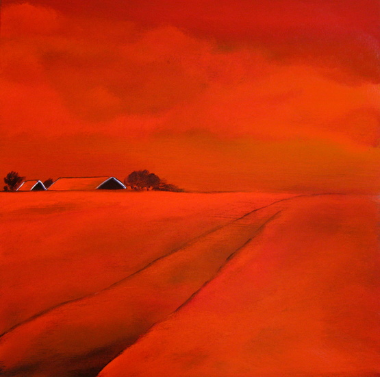 Red roofs, red sky, red land