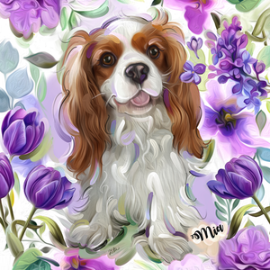 Here you find a selection of floral pet portraits. These digital paintings are made with digital art pen and tablet and have visual characteristics of traditional oil paint, watercolor and pastels. Delivered as jpg.file which can be used to print on canvas. (personal use only, no commercial use or reselling to thirds)