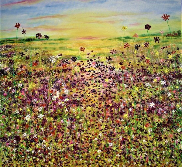 Landscape filled with flowers