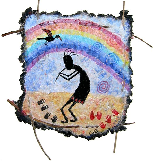 Kokopelli and the rainbow bird