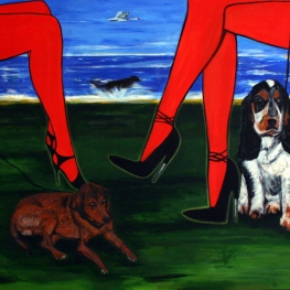 957'TWO WOMEN with Dogs'