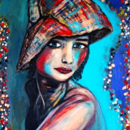 24513 GIRL WITH HAT