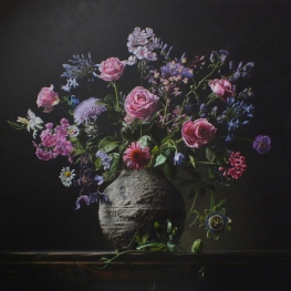 Flower still life with passion flower and phlox