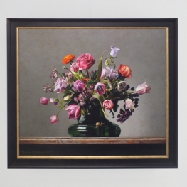 Giclée of Flower still life with small tortoiseshell butterfly