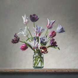 Tulips still life in glass jar