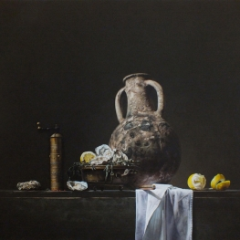 Still life with jug and oysters