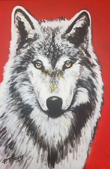 Wolf (Red background)