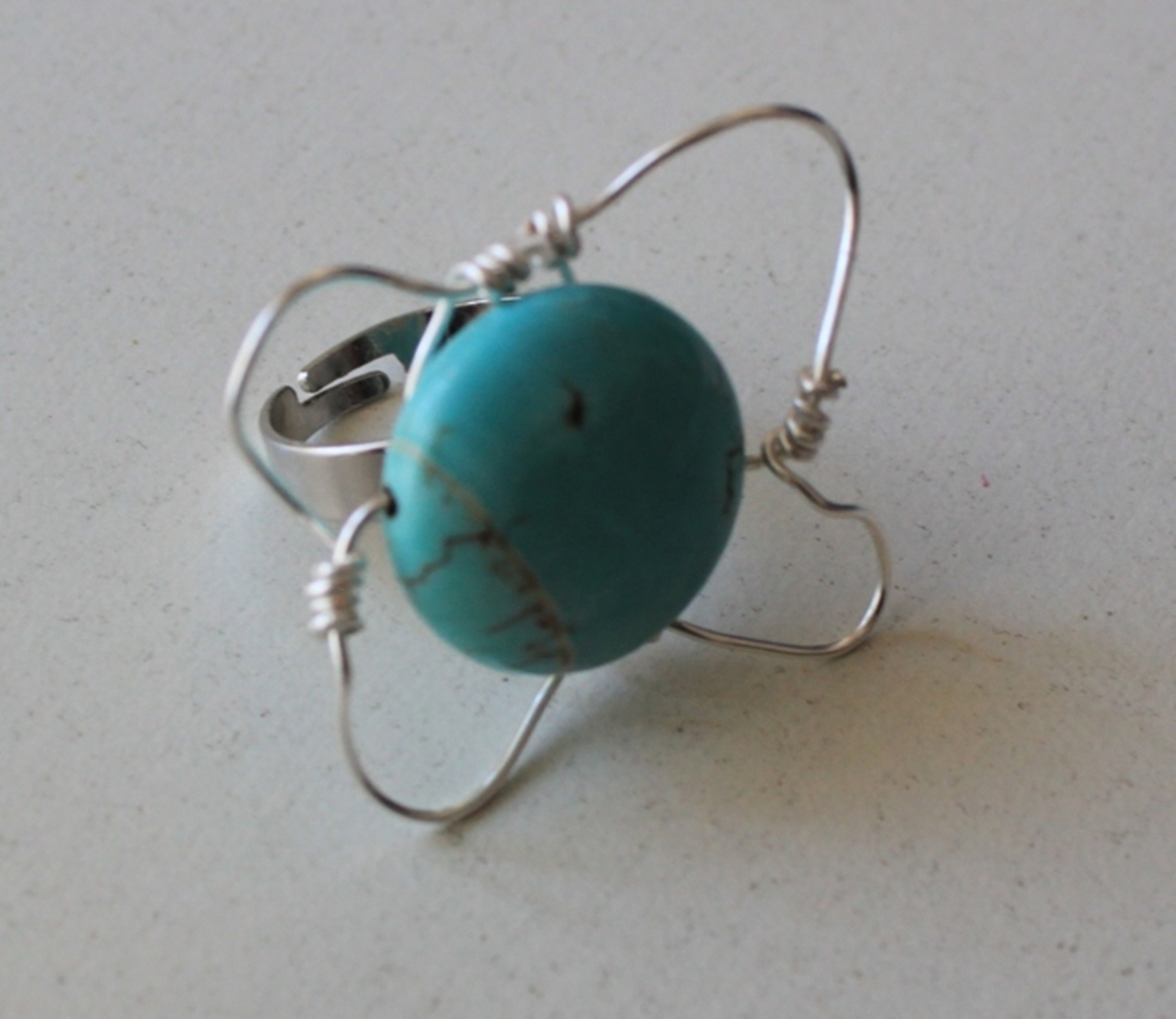 Ring rainbow marble turquoise