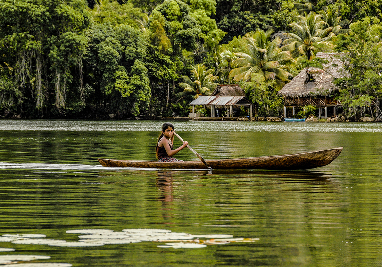 Girl in canoe on Rio Dulce